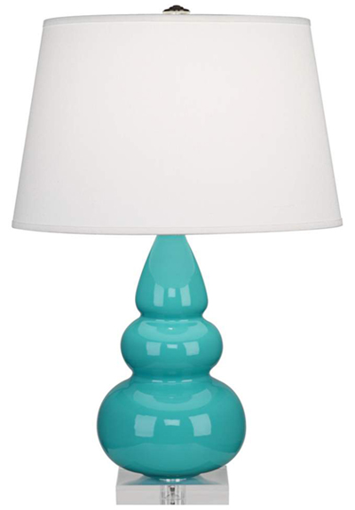 Robert Abbey Robin Egg Blue Triple Gourd Ceramic Table Lamp