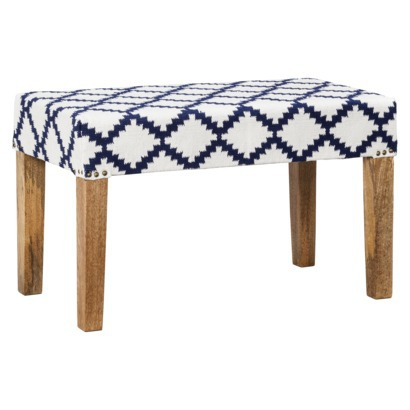Navy/Cream Woven Wood Bench