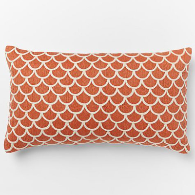 Scalloped Crewel Pillow Cover