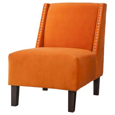 Hayden Armless Chair in Velvet with Nailhead Decoration