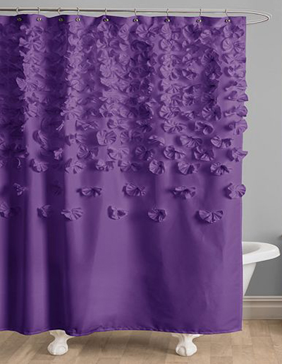 Lucia Purple Fabric Shower Curtain