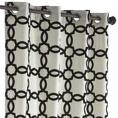 Black Geometric Grommet Top Curtain