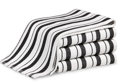 Jet Black Striped Towels