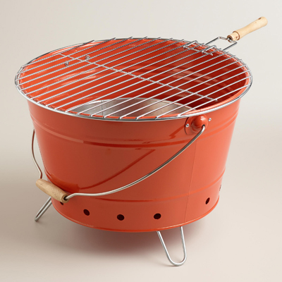 Orange Galvanized Steel Bucket Grill