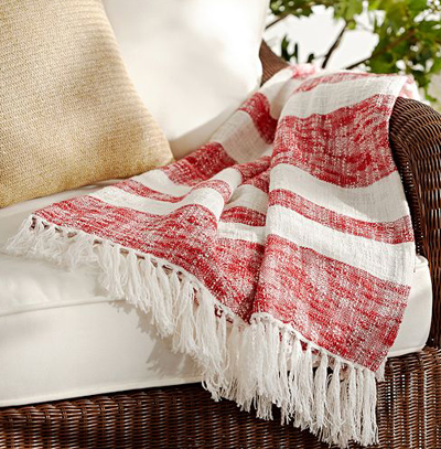 Red Awning Stripe Throw