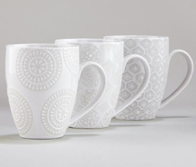 White Wax Resist Mugs