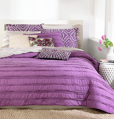 Bar III Plum Ruffle Coverlet Collection
