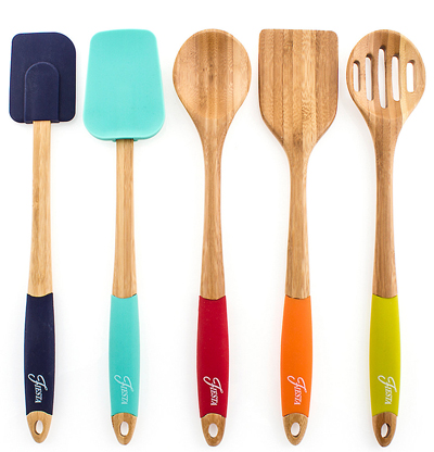 Fiesta 5-Piece Bamboo & Silicone Utensil Set