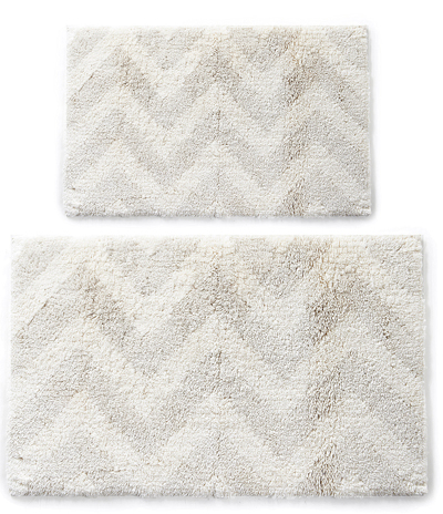 Linen Blend Chevron Bath Rug Collection