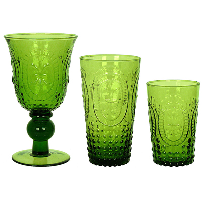 Renaissance Green Pressed Glass Drinkware
