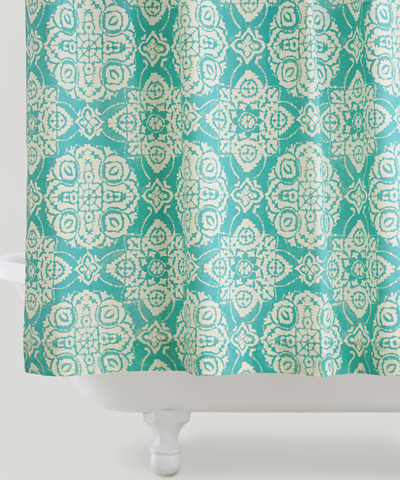 Turquoise Amina Medallion Shower CurtainTurquoise Shower Curtains   Decor by Color. Yellow And Teal Shower Curtain. Home Design Ideas