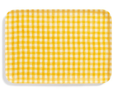 Yellow Check Coated Linen Tray
