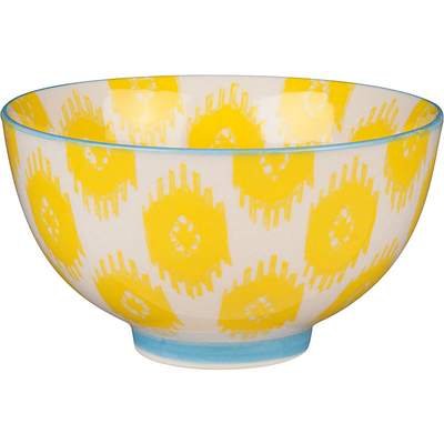 Yellow Ikat Ceramic Bowl