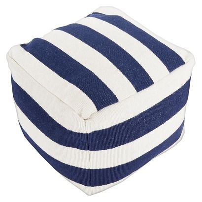 Navy Stripe Pouf