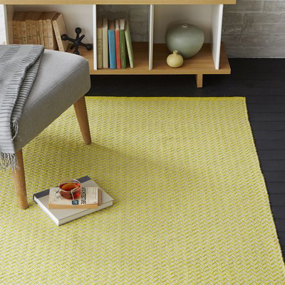Sun Yellow Skinny Mini Chevron Jute Rug