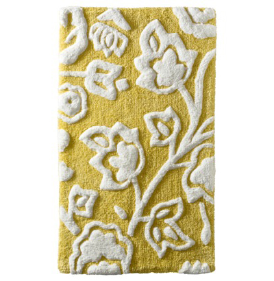 Yellow Floral Bath Rug
