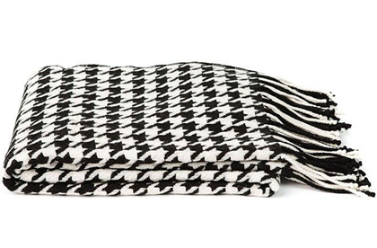 Black and Ivory Cashmere Blend Houndstooth Throw