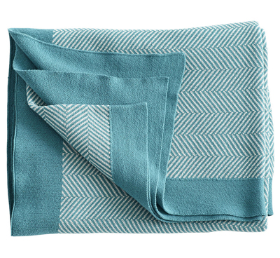 Blue Chevron Graphic Throw