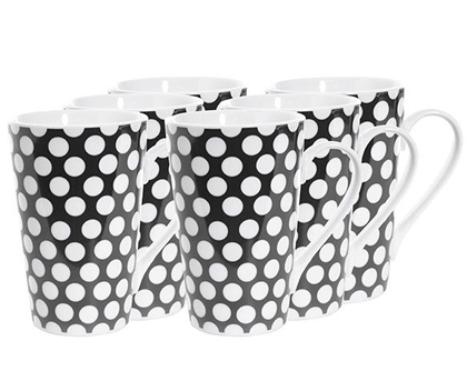 Cafe Polka Dots Black Mugs