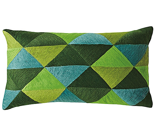 Green Embroidered Triangle Pillow Cover