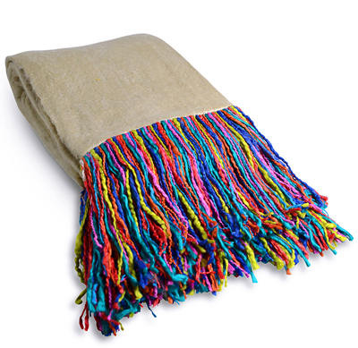 Rainbow Fringe Throw