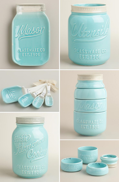 Ceramic Mason Jar Kitchen Accessories