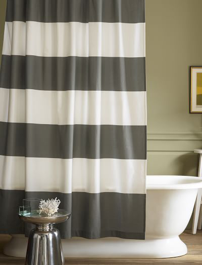 Feather Gray Stripe Shower Curtain