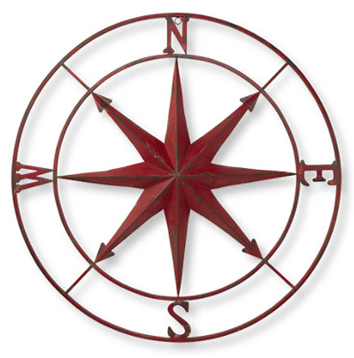 Red Metal Compass Rose