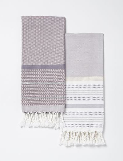 Striped Gem + Border Stripe Hammam Hand Towel Set