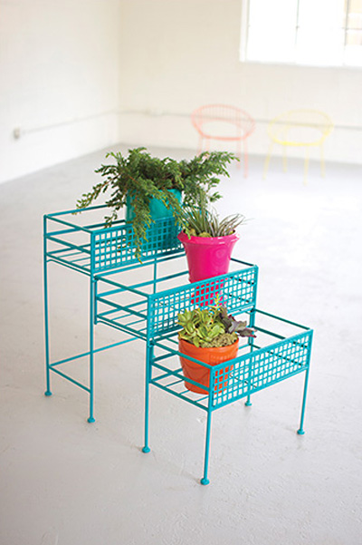 Turquoise Three-Tier Pull-Out Planter