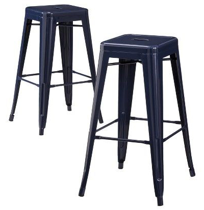Carlisle Navy Metal Bar Stools