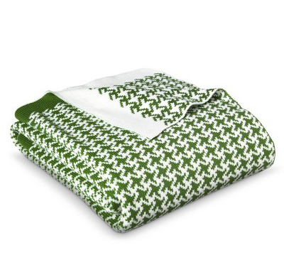 Green Houndstooth Knit Throw Blanket