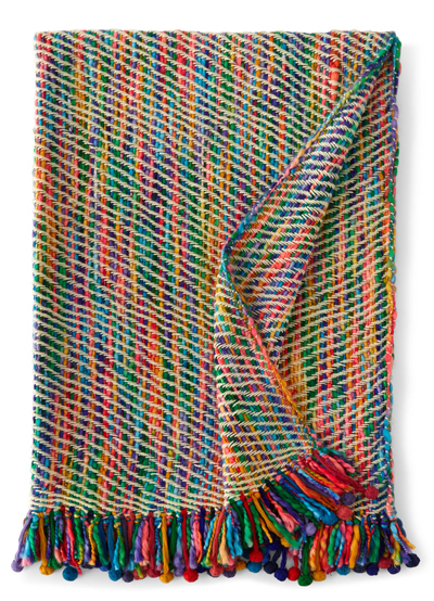 Multicolored Throw with Pom-Pom Fringe