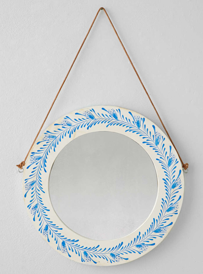 Wooden Floral Painted Mirror
