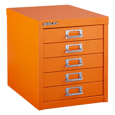 Orange Bisley 5-Drawer Cabinet
