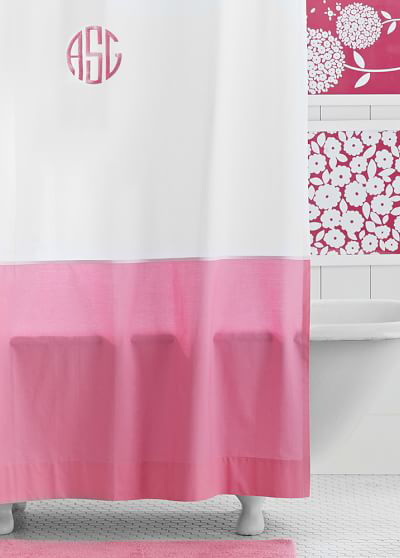 Pink Classic Border Shower Curtain