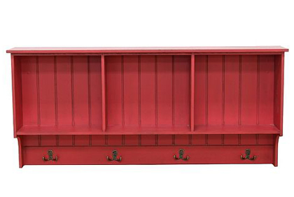 Red 4-Hook Cubby Wall Shelf