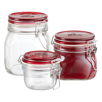 Red Lid Glass Hermetic Storage Jars