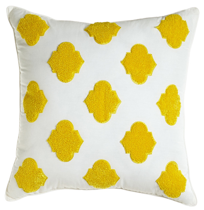 White Pillow with Yellow Chenille Design