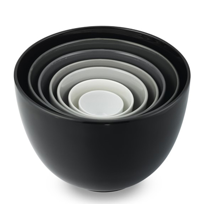 Black to White Tonal Ceramic Mixing Bowls