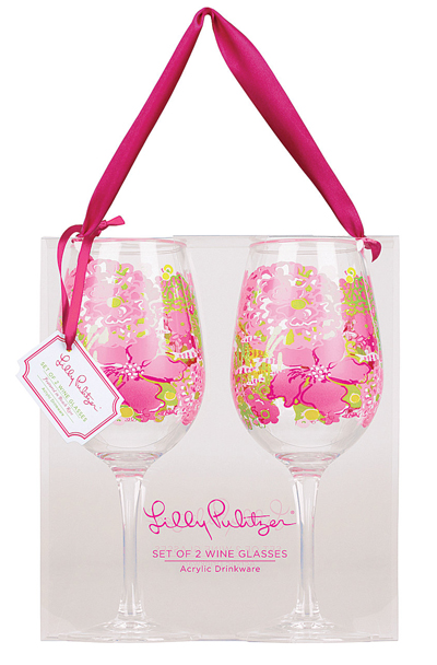 Lilly Pulitzer Beach Rose Acrylic Wine Glass Set