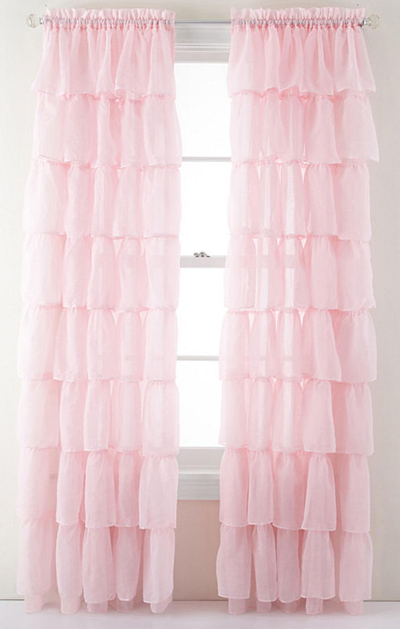 Pink Ruffled Rod-Pocket Sheer Panel