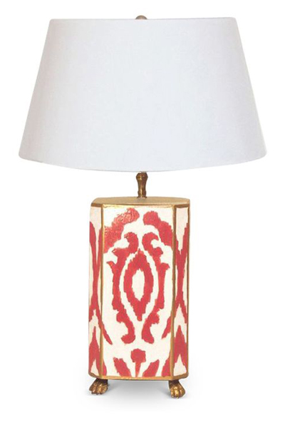 Red Ikat Lamp