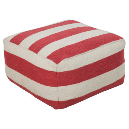 Red Large Stripe Square Wool Pouf