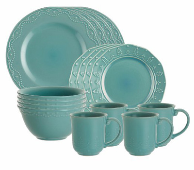 Whitaker 16-Piece Aqua Dinnerware Set