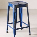 Blue Painted Industrial Stool