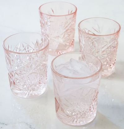Decorated Pink Hobstar Glassware
