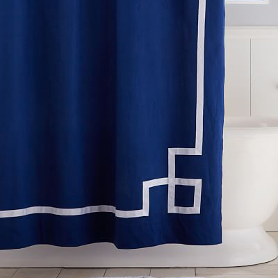 dark blue shower curtain. Royal Navy Emma Ribbon Trim Shower Curtain  Decor by Color