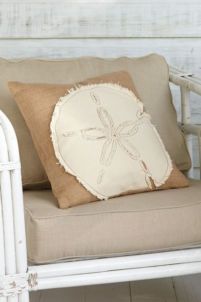 Sand Dollar Burlap Pillow