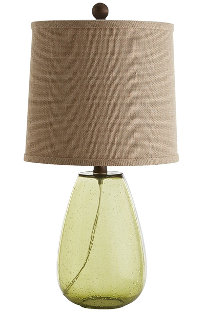 Green Seeded Glass Lamp